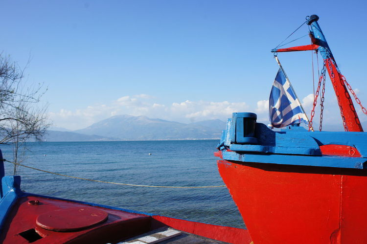Summer In Greece Blue Greece Greek Flag Greek Flag On The Ship Nautical Vessel Red Scenics Sea Sky Water
