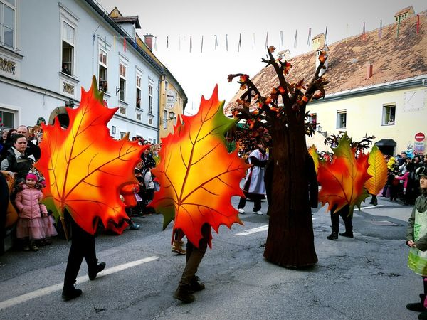 Street City Building Exterior Large Group Of People Outdoors People Architecture Multi Colored Carnival Parade Carnival Crowds And Details Celebration Autumn Colors Autumn Leaves Day Carnival Crowds And Details