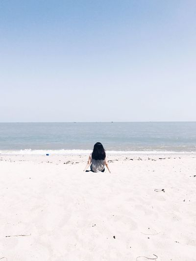 You're not alone Sea Horizon Over Water Beach Clear Sky Nature Sand Sky Water Day Beauty In Nature Scenics One Person Outdoors Animal Themes Mammal VSCO Cam Sea And Sky Clear Sky Vscogood EyeEmNewHere Instagood VSCO Peace