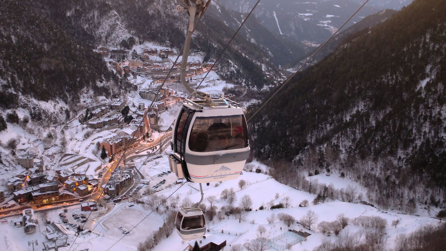High angle view of snowcapped mountains during winter