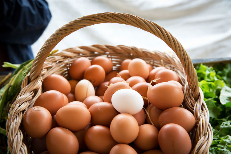 Food Food And Drink Basket Egg Container Wellbeing Freshness Healthy Eating Brown Large Group Of Objects Close-up No People Wicker Raw Food Focus On Foreground Day Still Life Nature High Angle View Indoors  Many Eggs Bio Bio Food Natural Food Brown Eggs