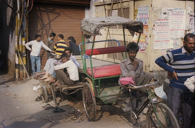 People working in cart