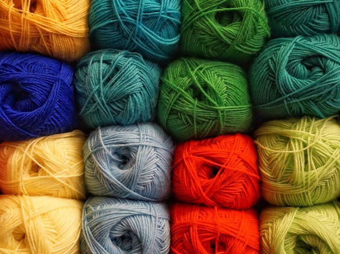 Full Frame Shot Of Colorful Wools For Sale At Market Stall