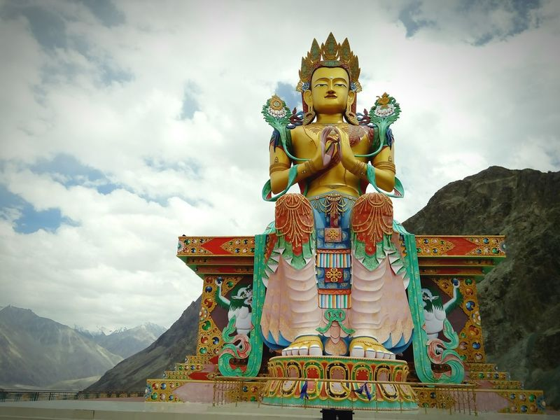 Architecture Travel Religion Gold Travel Destinations Statue Cultures Tourism Tradition Arts Culture And Entertainment Cloud - Sky History Outdoors Moutains Beauty India Ladakh Landscape Mountain Nature Cloudscape FirstEyeEm Scenics
