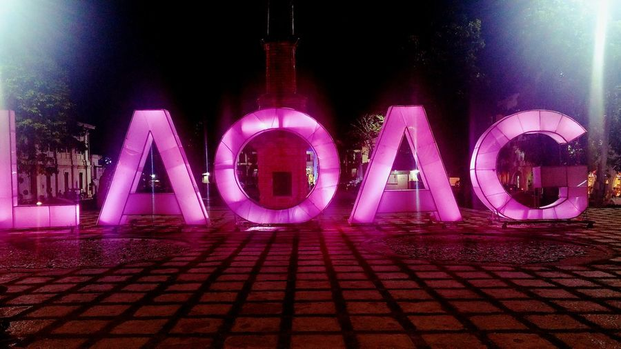 Illuminated Night Neon Text Lighting Equipment No People Communication Outdoors Close-up Pink Color Ilocano Laoag City