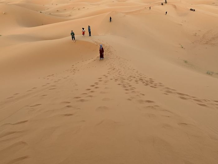 High angle view of people on sand dune