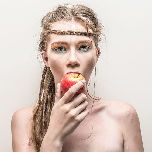 The Portraitist - 2017 EyeEm Awards Portrait Beautiful Woman Biting Food And Drink Studio Shot