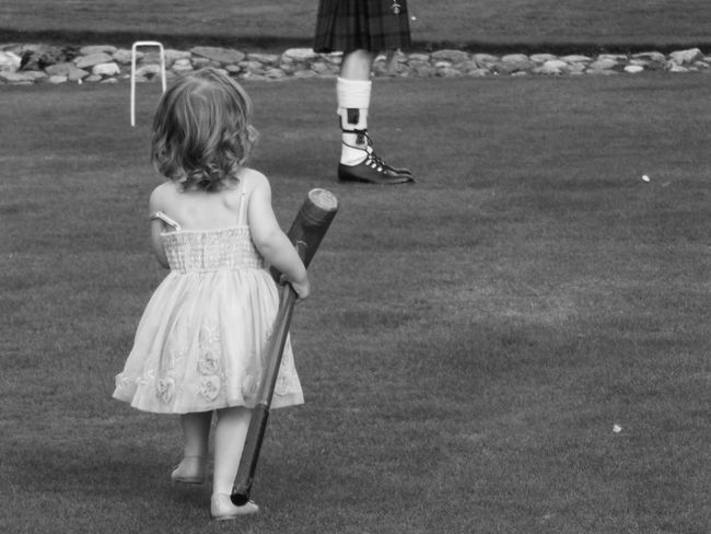Childhood Croquet Cute Day First Eyeem Photo Game Girls Grass Innocence Kilt Mallet Outdoors Playground Running Scotland Scottish White