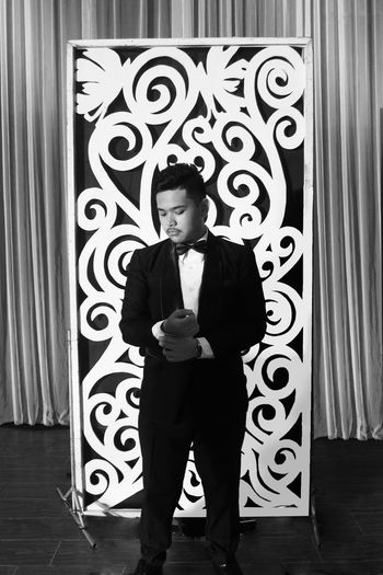 Prom Suit Indoors  Men Males  Photography Monochrome Photography Monochrome Black And White Philippines EyeEmNewHere Grayscale Promenade Prom Suit And Tie