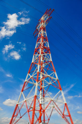 high-voltage line Blue Broadcasting Built Structure Cloud - Sky Communication Connection Day Electricity  Electricity Pylon Fuel And Power Generation Global Communications High Voltage Line Low Angle View Metal Nature No People Outdoors Power Supply Sky Tall - High Technology Tower