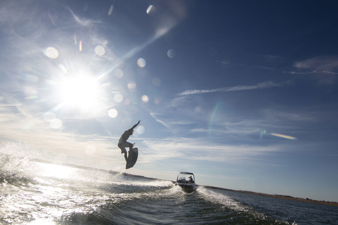 Portugal Day Energetic Flying In Water Photography Lake Motion Nature One Person Outdoors People Sea Sky Sports Photography Sunlight Travel Destinations Wakeboard Wakeboarding Water