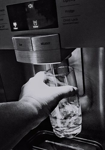 Taking a glass of water Human Hand Lifestyles One Person Real People Close-up Indoors  Water Drink Cold Blackandwhite Refreshment
