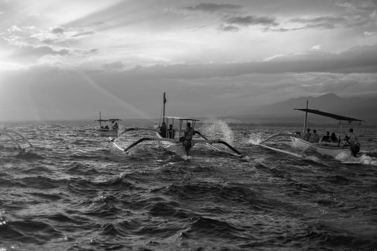 Bali Bali Photography Bali, Indonesia Black & White INDONESIA Balinese Culture Baliphotography Beauty In Nature Black And White Cloud - Sky Indonesia_photography Nature Nautical Vessel People Sea Sky Water Waterfront First Eyeem Photo