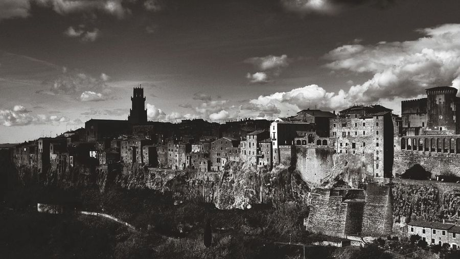 High angle view of buildings at pitigliano against sky