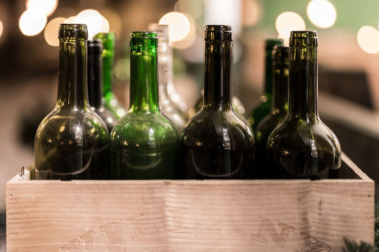 Close-Up Of Wine Bottles