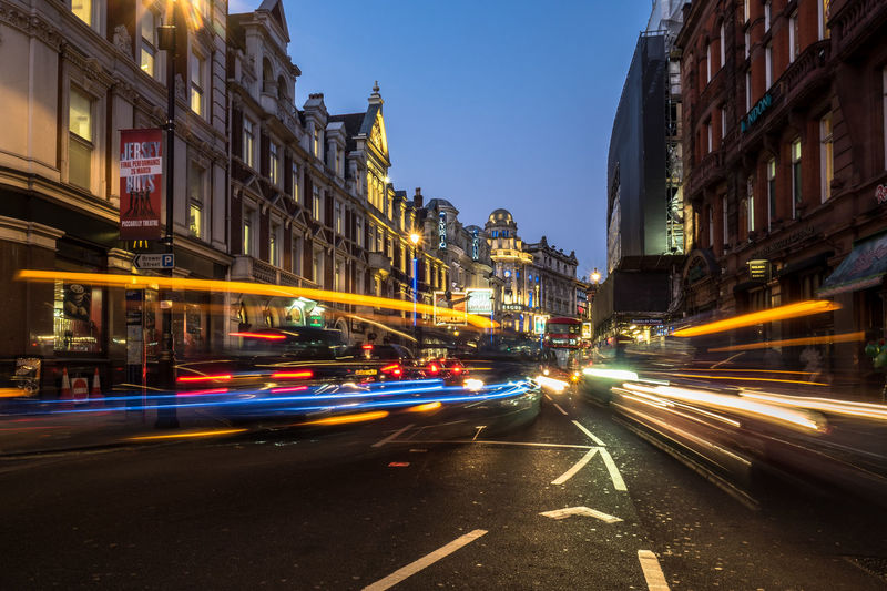Apollo Theatre Blue Hour City Life Light Trails London Apollo Architecture Building Exterior City City Lights Clear Sky High Street Illuminated Light Trail Long Exposure Motion Night Nightlife Outdoors Sky Slow Shutter Speed Street Theatre Transportation