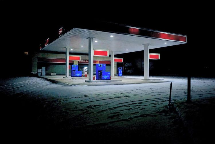 Snow petrol Fuel And Power Generation Snow Night Dark Gas Station Fuel Pump Cold Temperature Built Structure No People Store Illuminated Building Exterior Outdoors Neon