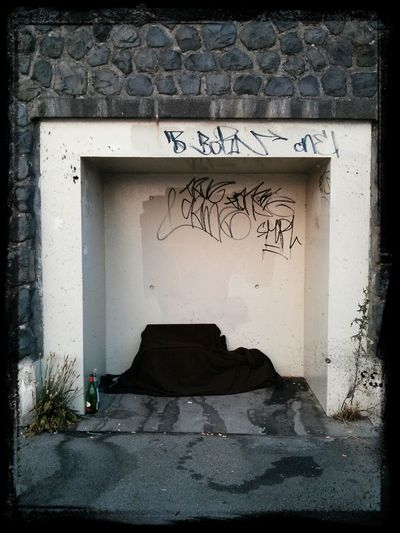 Wall with closed door