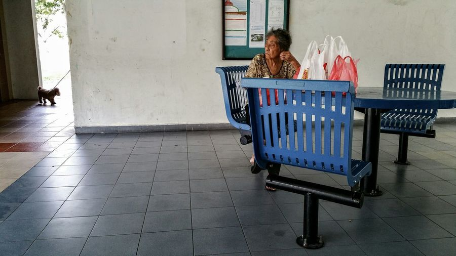 Samsung Galaxy Note 4 Streetphotography Street Photography Streetphoto_color People Old Woman Resting Void Deck Benches Dog Up Close Street Photography HDB Flat Residential  Housing Estate Street Life Everybodystreet
