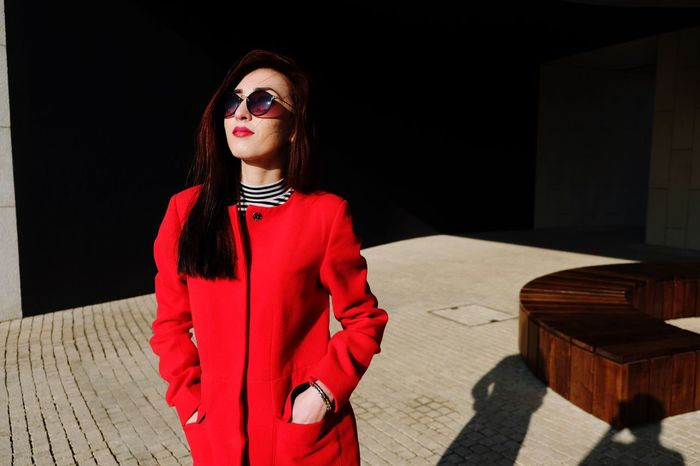 One Person Young Adult Standing Real People Jacket Front View Young Women Adults Only People One Young Woman Only Adult Beautiful Woman Warm Clothing Outdoors Leisure Activity Lifestyles Day Red
