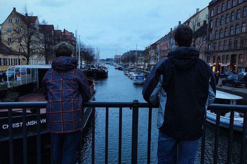Adventure Buddies End of the day in Copenhagen Denmark with my best travel buddies, teen sons. Traveling Winter IPS2016Composition