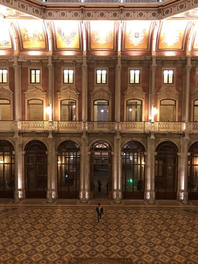 Portugal Porto Palácio Da Bolsa Palace Architecture Built Structure Building Exterior Arch Window Illuminated Night Building