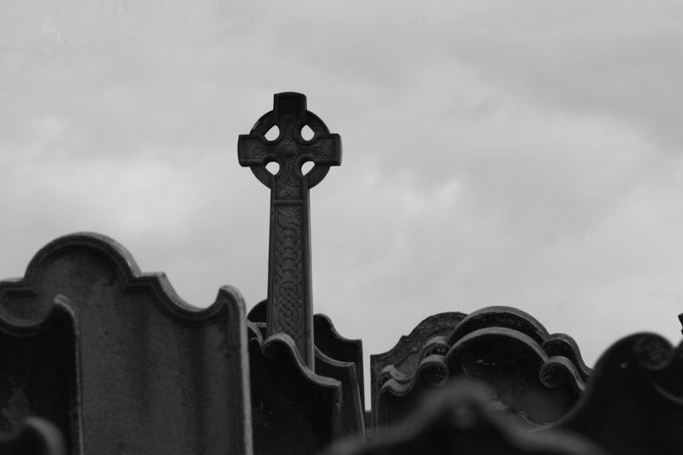 B&W shot of the cemetery at Whitby Abbey in Whitby, England, UK. Art Close-up Cloudy Focus On Foreground High Section Low Angle View No People Outdoors