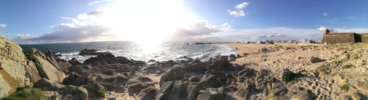 Panoramic Photography Panorama Panoramic View Portugal Is Beautiful Waves Sun Vila Do CondePortugal P9 Huawei Blue Sky The Sun Beauty In Nature Landscape