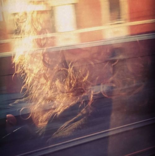 Looking out the window Trip Train Curly Hair Blond Hair Train Treno Viaggio Trip Window Riflesso Reflected  Curly Real People Me Lipstick