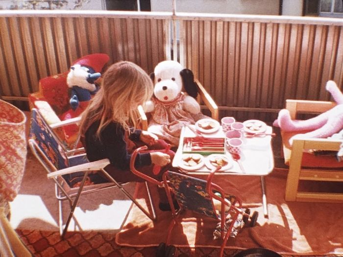 EyeEm Selects Sitting Food Girl Girly Things Friendship Teaparty Teapartytime Playtime Young Girl Playing Table Decoration Toys Only Women Pets Togetherness Leisure Activity Old Times Old Time Photos Teapartycafe Playing