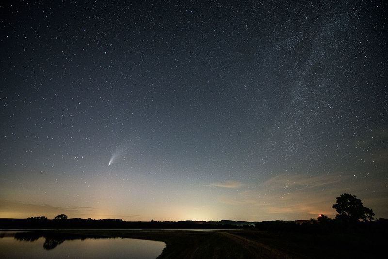 Scenic view of neowise comet  at night near pécs hungary at 21 july 2020