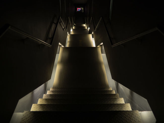Going Down Architecture Building Built Structure Ceiling Diminishing Perspective Direction Illuminated Indoors  Lighting Equipment Low Angle View Moving Up No People Pattern Railing Rammelsberg Staircase Steps And Staircases The Way Forward Wall - Building Feature