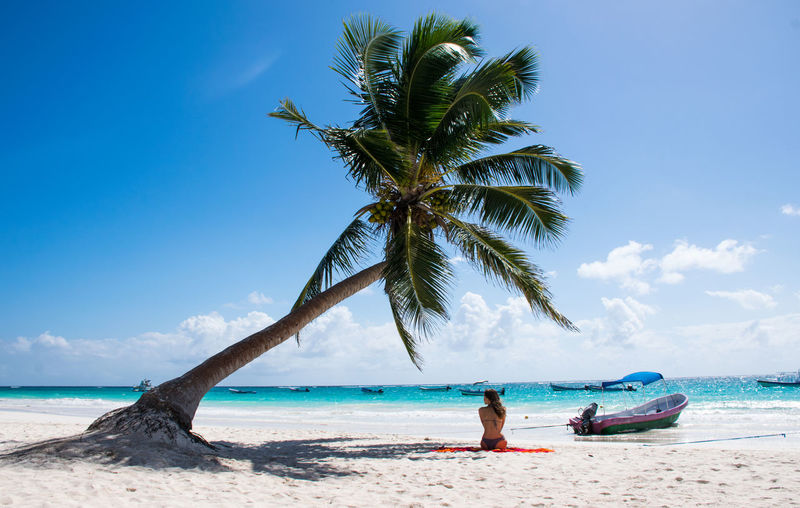 Cancun Beach Adult Adults Only Beach Blue Cloud - Sky Day Full Length Horizon Over Water Men Nature One Person Outdoors Palm Tree People Postcard Real People Relaxation Sand Sea Sky Tree Tropical Climate Vacations Water Young Adult