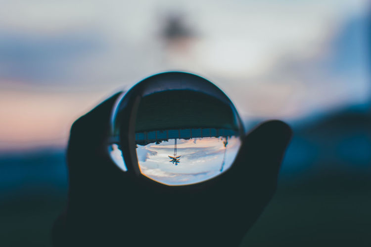 Close-up of photography ball during sunset
