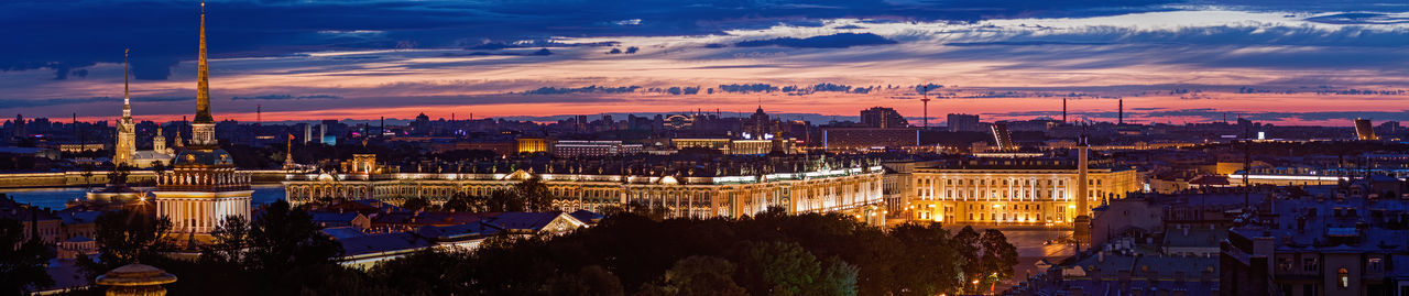 Scenic panoramic view from roof of night st petersburg city in russia at summer