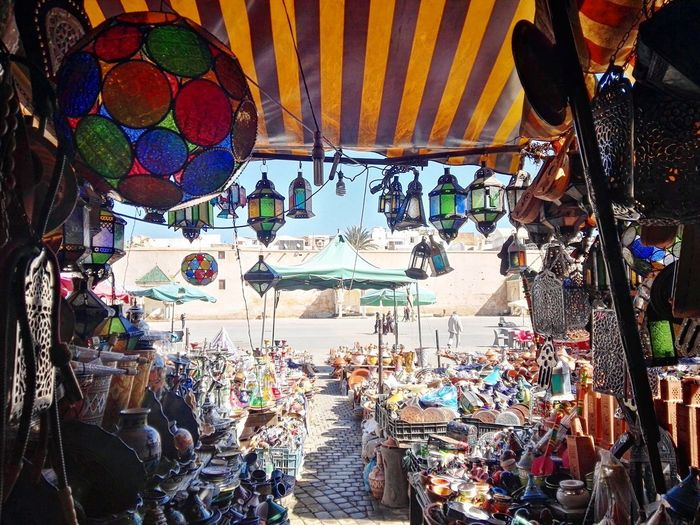 Arabian Arabic Meknès Marocco Multi Colored Hanging Abundance Large Group Of Objects Choice Market Retail  Market Stall Outdoors Arrangement
