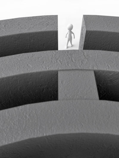 3D rendering of white stick man entering big gray concrete wall maze 3d Rendering Entrance Labyrinth Stick Man Wall Architecture Challenge Curiosity Figurine  Maze One Person Puzzle