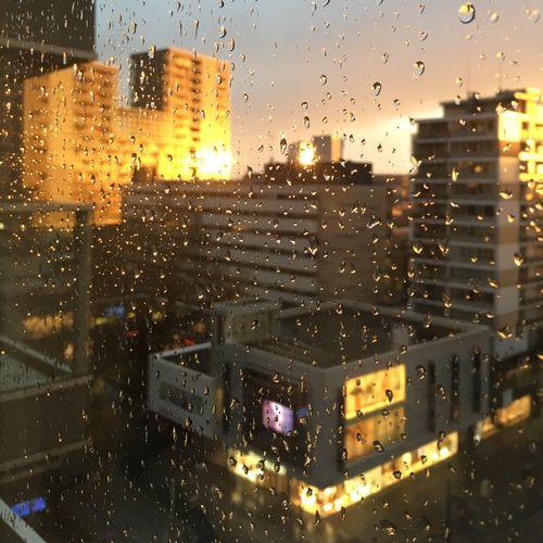 Sunshine After The Rain Raindrops On My Window Window Pane Cityscape Sunset Buildings & Sky