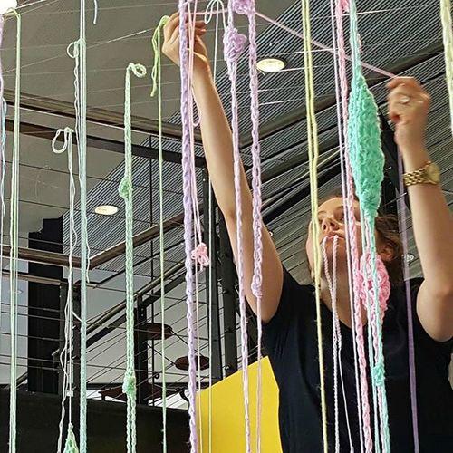 Francoise Sas working on her Art installation at CentralTAFE . DesignEveryday .