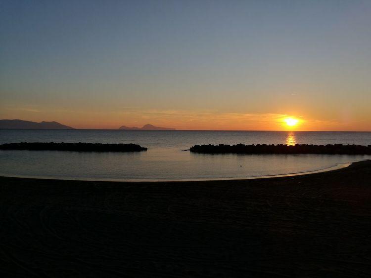 Sunset with Capri Island Sun Landascape Bay Of Naples, Italy. First Eyeem Photo Sky Nature Sky Seaview Sea Picoftheday