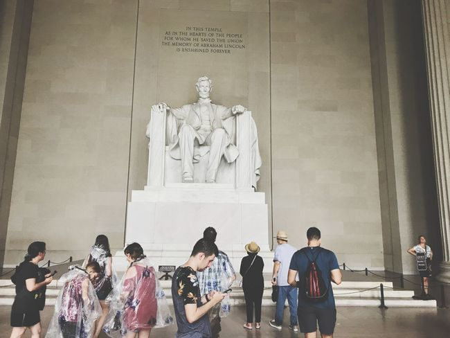 Washington, D. C. Lincoln Lincoln Memorial Built Structure Architecture Group Of People Real People Art And Craft Large Group Of People Building Exterior Crowd Sculpture Travel Travel Destinations