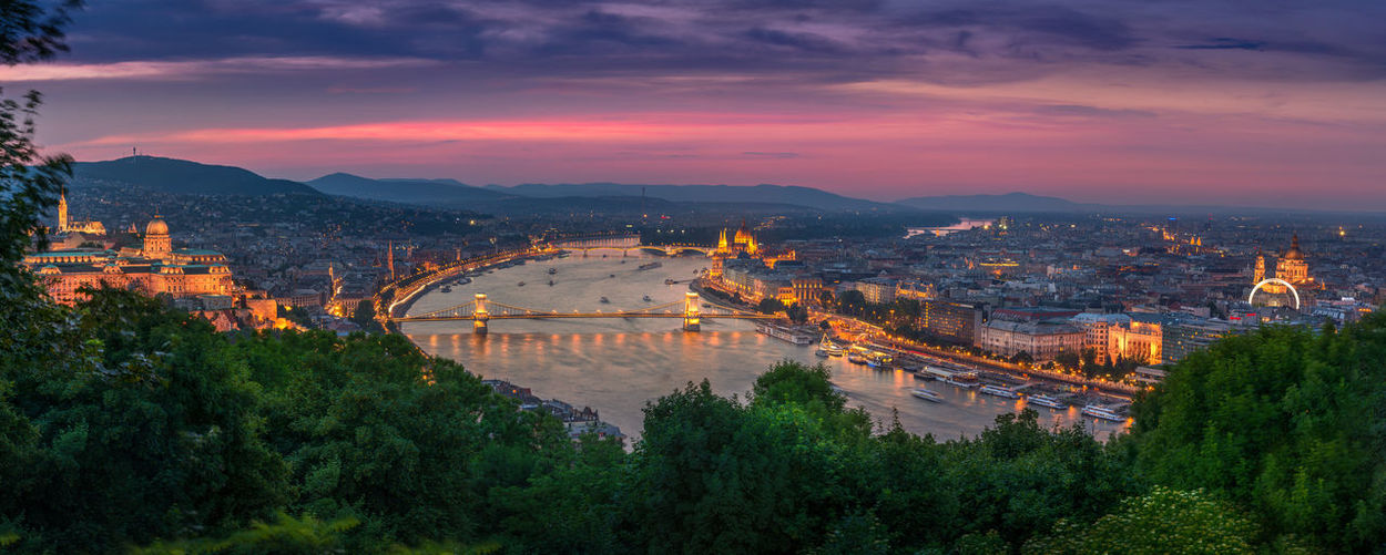 Budapest HD Panorama Architecture Capital Cities  Chain Bridge City Cityscape Cloud - Sky Illuminated Mountain Mountain Range Nature Night No People Outdoors Sky Sunset Suspension Bridge Travel Destinations Wallpaper Colour Your Horizn