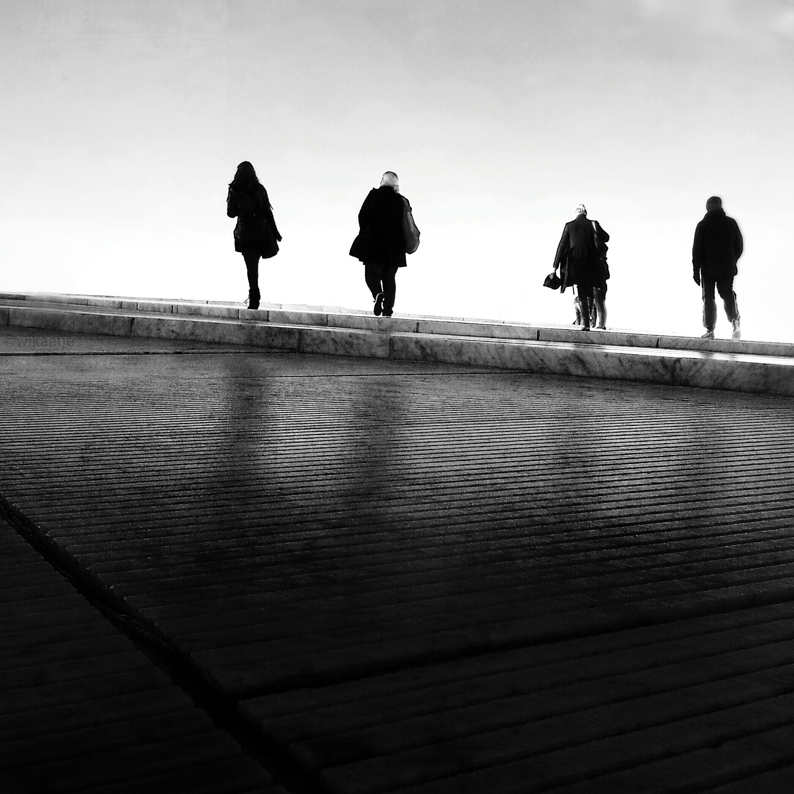 men, rear view, lifestyles, silhouette, person, walking, full length, leisure activity, clear sky, togetherness, sky, standing, the way forward, copy space, railing, outdoors