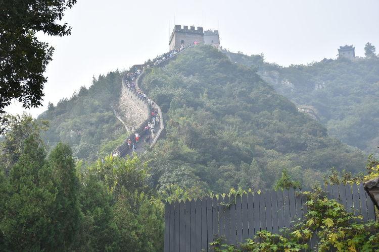 Tourist visiting great wall of china