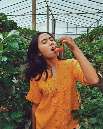 Woman eating strawberries while standing by plants in greenhouse