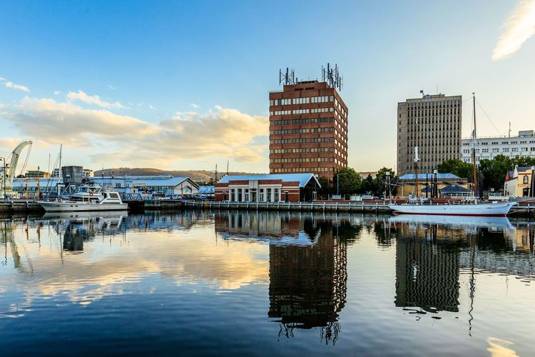 Sunset Australia Tasmania Hobart Water Reflection Building Exterior Built Structure Sky Architecture Waterfront Nautical Vessel City Office Building Exterior Building Cloud - Sky Harbor Outdoors