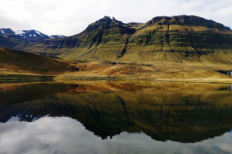 Travel Destinations Travel In Iceland Fall Fall Colors Iceland Icelandic Landscape Reflection Water Mountain Lake Snow Mountain Peak Reflection Sky Landscape Mountain Range Cloud - Sky Rugged Volcanic Landscape Snowcapped Mountain Cliff Physical Geography