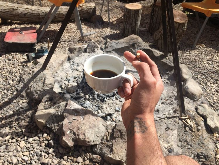 Coffee And Cigarettes Camping Fire Enjoying Life Hangover Sunny Day Great Atmosphere Show Showcase March
