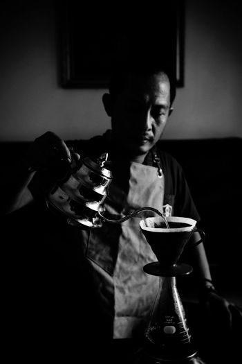 Mix Yourself A Good Time Coffee Coffee At Home Pourover V60 Black And White Barista One Person One Man Apron Black Coffee Indoors  Available Light Food Stories Business Stories