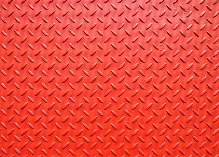 red sheet metal plate with grip texture Red Abstract Alloy Backgrounds Close-up Crisscross Diamond Shaped Directly Above Full Frame Indoors  Leather Material Metal No People Old Pattern Red Repetition Sheet Metal Silver Colored Steel Textured  Textured Effect Toughness